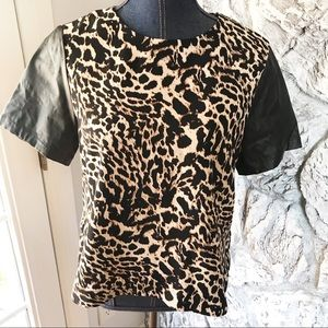 HM faux leather sleeve leopard top 10